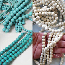 20-100Pcs Howlite White/Blue Turquoise Gemstone Round Loose Beads DIY 4/6/8/10mm