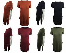 NEW WOMENS LADIES CASUAL EYELET LACE UP SPLIT SIDE LONG T SHIRT LOOK TUNIC TOP