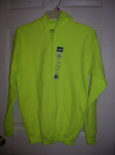 Boys Hoodie Zip Front Sweat Jacket Neon Safety Green Hooded Fleece GILDAN M, XL