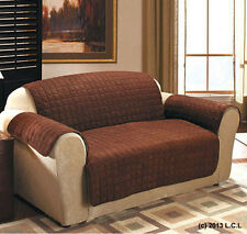 Quilted Sueded Loveseat Cover Chocolate Brown Furniture Pet Protector