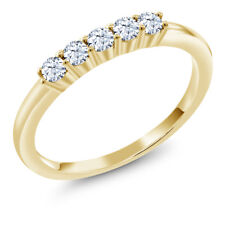 0.25 Ct Round Hearts And Arrows White Created Sapphire 18K Yellow Gold Ring