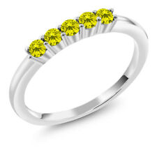 0.33 Ct Round Canary Diamond 18K White Gold Five Stone Anniversary Wedding Band