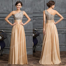 Sequins One Shoulder Long Wedding Bridesmaids Cocktail Party Prom Evening Dress