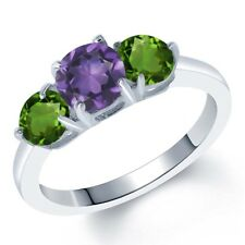 1.75 Ct Round Purple Amethyst Green Chrome Diopside 925 Sterling Silver Ring