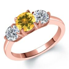 1.70 Ct Round Yellow Citrine G/H Diamond 18K Rose Gold Plated Silver Ring