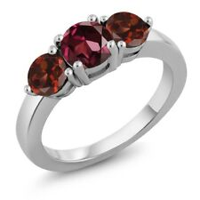 2.20 Ct Round Red Rhodolite Garnet Red Garnet 925 Sterling Silver Ring