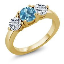 2.20 Ct Round Swiss Blue Topaz White Topaz 18K Yellow Gold Plated Silver Ring