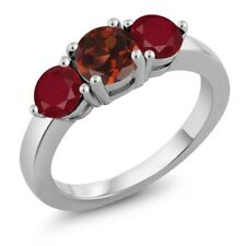 2.12 Ct Round Red Garnet Red Ruby 925 Sterling Silver Ring
