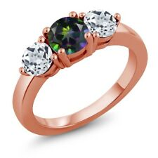 2.20 Ct Round Green Mystic Topaz White Topaz 18K Rose Gold Plated Silver Ring