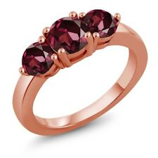 2.28 Ct Round Red Rhodolite Garnet 18K Rose Gold Plated Silver Ring