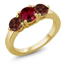 2.20 Ct Round Red Created Ruby Red Garnet 18K Yellow Gold Plated Silver Ring