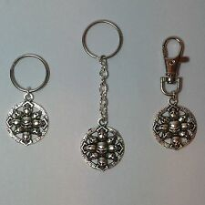 Handmade  Skull Circle  Keyring  or Clip-on *** FREE 1st Class Post ***
