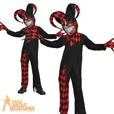 Evil Krazed Jester Costume Boys Halloween Fancy Dress Outfit New Ages 8-16