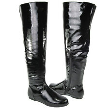 NEW LADIES WOMENS BLACK OVER THE KNEE HIGH FLAT THIGH HIGH BIKER BOOTS SIZE