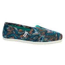 TOMS Classic Turquoise-Multi Canvas Ikat Slip Ons