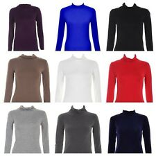 NEW WOMENS LADIES PLAIN CASUAL LOOK LONG SLEEVE STRETCH POLO NECK TOP SIZE 8-14