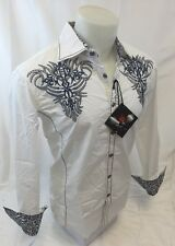 Mens HOUSE OF LORDS Tribal Stones Button Down Shirt White Roar Wit Class NWT 80