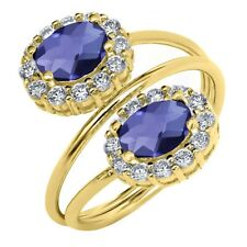 2.08 Ct Oval Checkerboard Blue Iolite 18K Yellow Gold Plated Silver Ring