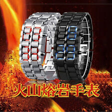 NEW ARRIVAL ! Black/Silver Digital LED Wrist Watch Iron Metal Samurai Mens Watch