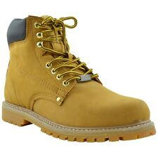 Mens Boots Oil Resistant Safety Genuine Leather Work Hiking Padded Shoes Tan
