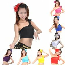 Latin Belly Dance Bolero Crop Top Shirt One Shoulder Blouse Choli 8 Colors S67