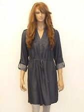 New womens blue denim roll up sleeves drawstring 100% cotton shirt dress uk 8-12
