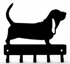 Basset Hound Dog Leash hanger Key Rack holder 5 hooks, Made USA, Metal Sm/Lg NEW