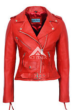 CLASSIC BRANDO Ladies Red Biker Style Motorcycle Cruiser Hide Leather Jacket
