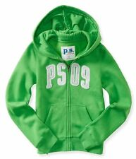 NWT PS Aeropostale Girls Size 7 8 Kids' PS09 Zip-Front Hoodie Green Sweatshirt
