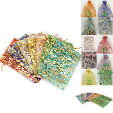 Hot 100Pcs Rose Drawable Organza Wedding Favors Candy Gift Bags Pouches 12X9cm