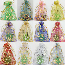 Hot 100Pcs Rose Gauze Organza Wedding Favors Party Candy Gift Bags Pouches 9x7CM