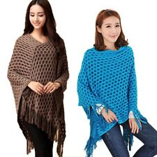 Womens Outfit Batwing Sleeve Shawl Cape Poncho Knit Cardigan Sweater Coat S17