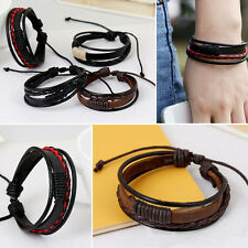 Fashion Mens Women Surfer Tribal Wrap Multilayer Leather Wristband Bracelet Cuff