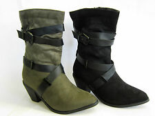 LADIES TEXTILE/SYNTETIC  ZIP UP MID CALF  BOOTS (SPOT ON F50454