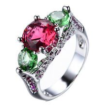 Size 6-10 Women's Red Ruby 10Kt White Gold Filled Wedding Engagement Party Ring