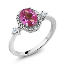 1.41 Ct Oval Pink Mystic Topaz White Created Sapphire 925 Sterling Silver Ring