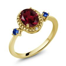 1.52 Ct Red Rhodolite Garnet Blue Sapphire 18K Yellow Gold Plated Silver Ring