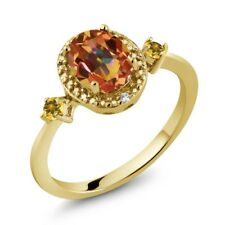 Mystic Topaz Simulated Citrine 18K Yellow Gold Plated Silver Ring Accent Diamond