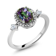 1.41 Ct Oval Green Mystic Topaz White Created Sapphire 925 Sterling Silver Ring