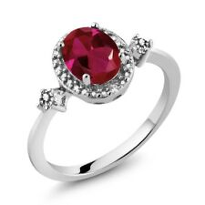 1.29 Ct Oval Red Created Ruby White Diamond 925 Sterling Silver Ring
