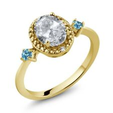 1.47 Ct White Topaz Simulated Topaz 18K Gold Plated Silver Ring Accent Diamond