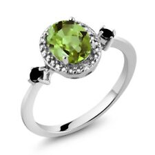 1.47 Ct Oval Green Peridot Black Diamond 925 Sterling Silver Ring