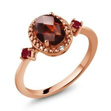 1.65 Ct Oval Checkerboard Red Garnet Red Ruby 18K Rose Gold Plated Silver Ring