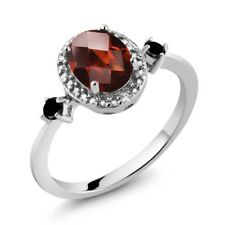 1.54 Ct Oval Garnet Black Diamond 925 Sterling Silver Ring With Accent Diamond