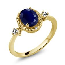 1.93 Ct Oval Blue Sapphire White Diamond 18K Yellow Gold Plated Silver Ring