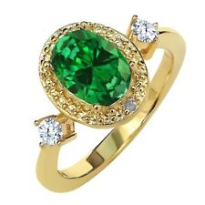 Simulated Emerald & Topaz 18K Yellow Gold Plated Silver Ring With Accent Diamond
