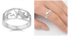 Sterling Silver 925 PRETTY TWO DOLPHINS DESIGN SILVER BAND RING SIZES 5-12
