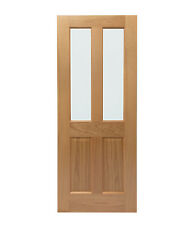 Glazed Victorian 4 Panel Pre-Finished Oak Door with Clear Bevelled Glass