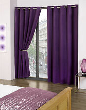 Purple Blackout Thermal Self Lined Eyelet Ring Top Ready Made Curtains
