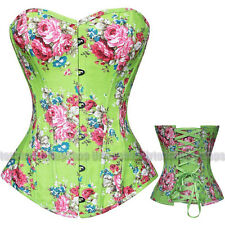 Fantasy Charming Lace Up Boned Rose Floral Corset Bustier Jean Costume S-2XL